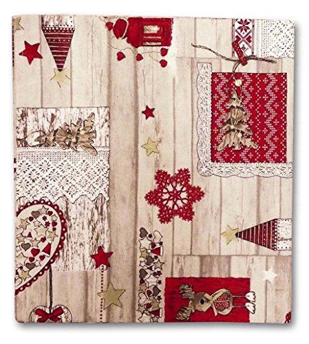 Confezioni Giuliana TOVAGLIA Rettangolare Cotone Tavolo Rettangolare 140x300 cm Renna Cuore Natale