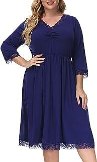 Hanna Nikole Women's Lace Nightgown Plus Size Sleep Dress Pleated Sleepwear Midi Nightshirt