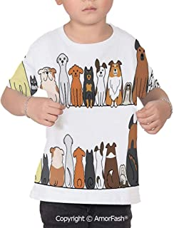 PUTIEN Dog Lover Decor Girl Regular-Fit Short-Sleeve Shirt,Personality Pattern,Picture