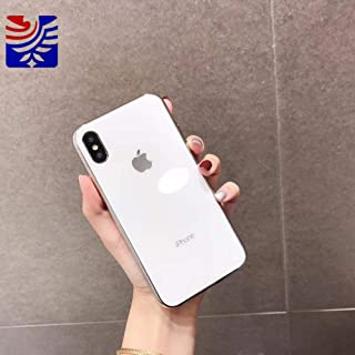 Half-Wrapped Case - Luxury Made of electroplated Glass Anti-Fall Phone Cases for iPhone 6 6S 7 8 Plus X Xs Max Girl Simple - by LENALE - 1 PCs