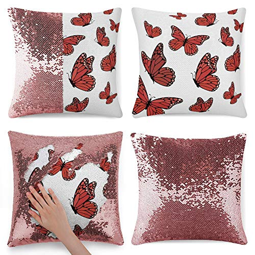 pealrich Fundas de cojín cuadradas para sofá cama, diseño de mariposas, color rojo, 40,6 x 40,6 cm