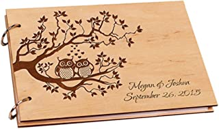 ChristBess Owls Wedding Guest Book Personalized Wood Tree Wedding Photo Album Custom Name Wedding Guestbook Rustic a4 Pape...