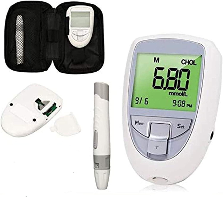 Kit de Análisis de Sangre Casero Fácil de Operar, 3 en 1 colesterol multifunción, kit de prueba de colesterol para el hogar, azúcar en la sangre medidor de pruebas de ácido uceal de azúcar en la sangr