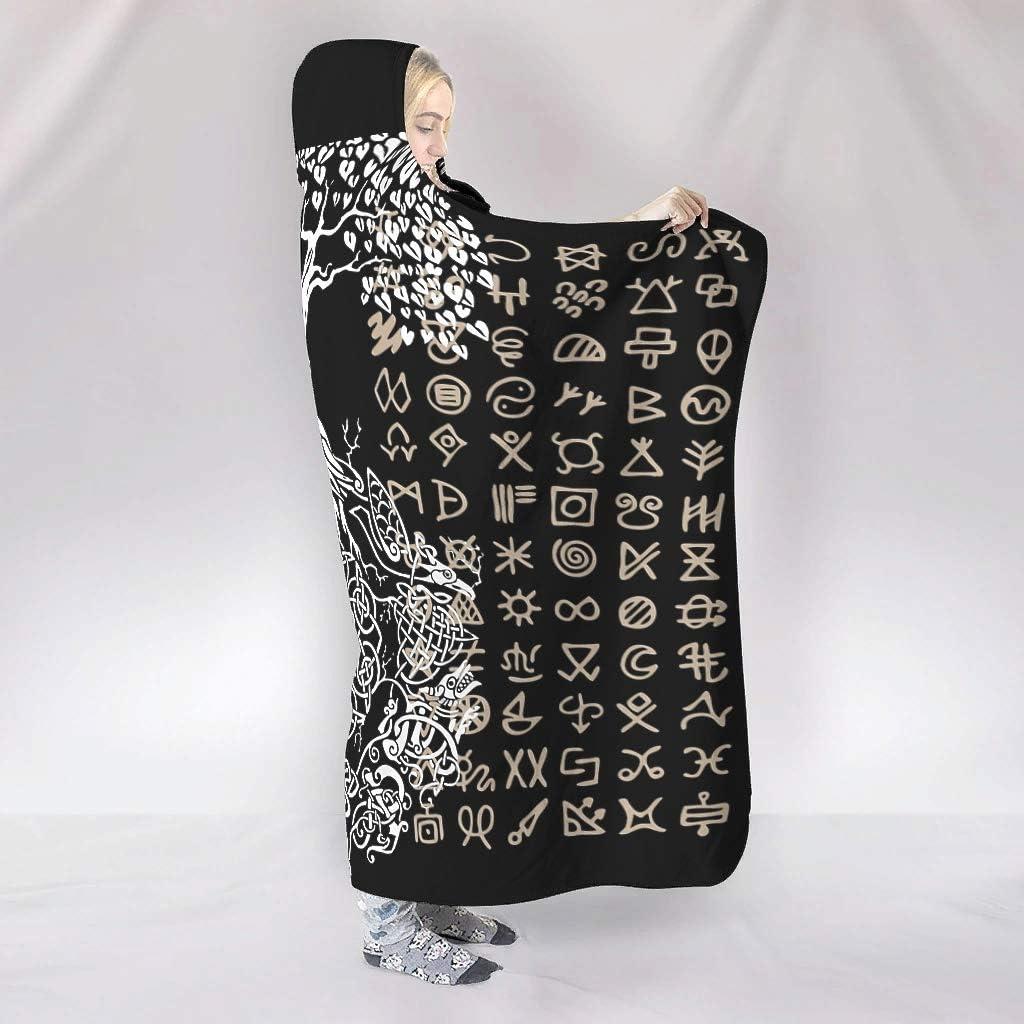 Viking Large Fits Lunch Hour Use White 60x80 inch FHU88 Bat Blanket Viking Pattern Print Fleece Comfortable Hood Robe