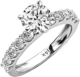 3 Carat 14K White Gold Classic Side Stone Prong Set GIA Certified Round Cut Diamond Engagement Ring (2 Ct D Color VS2 Clarity Center Stone)