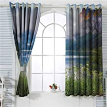 hengshu Nature Eclipse Blackout Curtains Alps Mountain Foggy Lake in Floral Meadow Adventure Pastoral Climbing Picture Patio Door Curtains Living Room Decor W72 x L107 Inch Blue Fern Green