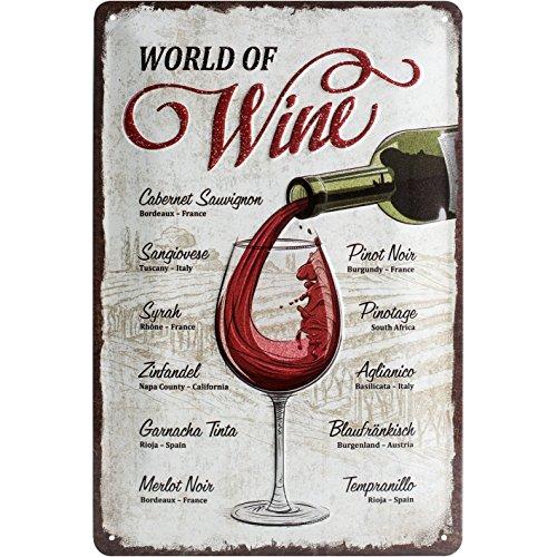 Nostalgic-Art Retro Blechschild Open Bar – World of Wine – Geschenk-Idee für Wein-Liebhaber, aus Metall, Vintage-Design zur Dekoration, 20 x 30 cm