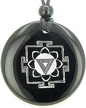 Kali Yantra Amulet Black Agate Magic Pendant Necklace