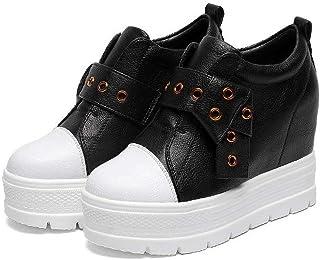 [日本82] レディース インヒール スニーカー 厚底靴 本革 プラットフォーム ベルクロ シークレットシューズ カジュアル 滑り止め 美脚 ウォーキングシューズ 小さいサイズ 白 黒