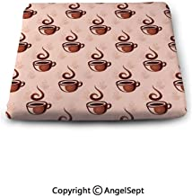 oobon Seat Cushions Square Chair Pads,of Coffee Cup Silhouettes with Steam Hot Beverages,Pillow Square Chair Cushion