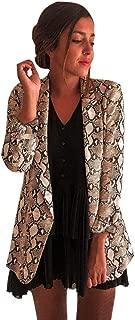 PEIZH Women Snake Print Blazer Snake Casual Print Long Sleeve Suit Coat Blazer Biker Jacket Outwear Tops