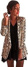 Fashion Coat Women Snake Print Long Sleeve Suit Blazer Biker Jacket Outwear Tops