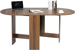 DREAMADE Table de Salle à Manger Pliable, Table Pliante de Cuisine Multifonctionnelle avec Plateau Ovale, Économie d'Espac...