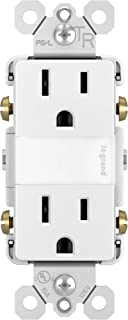 Pass & Seymour NTL885TRWCC6 RADIANT NLITE/2 15A TR OUTLTS + LOU Duplex Outlet with Night Light, White
