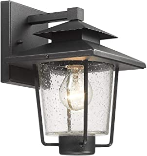 Bestshared Outdoor Wall Lantern, Patio Wall Lighting,1-Light Exterior Wall Mount Light Sconce with Seeded Glass in Black Finish (Medium)
