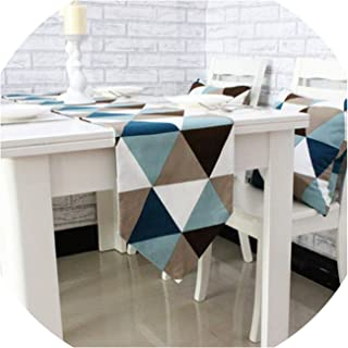 Gooding life Simple Modern Geometric Dining Table Runner placemats Upscale Fabric Coffee Table Flag Bed Runner,30x220cm,Blue and Black