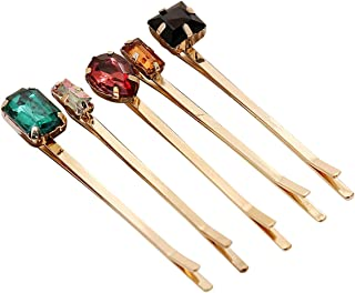 Lurrose 5pcs Colorful Crystal Hair Pins Gold Vintage Decorative Bobby Pins for Women (Mixed Style)
