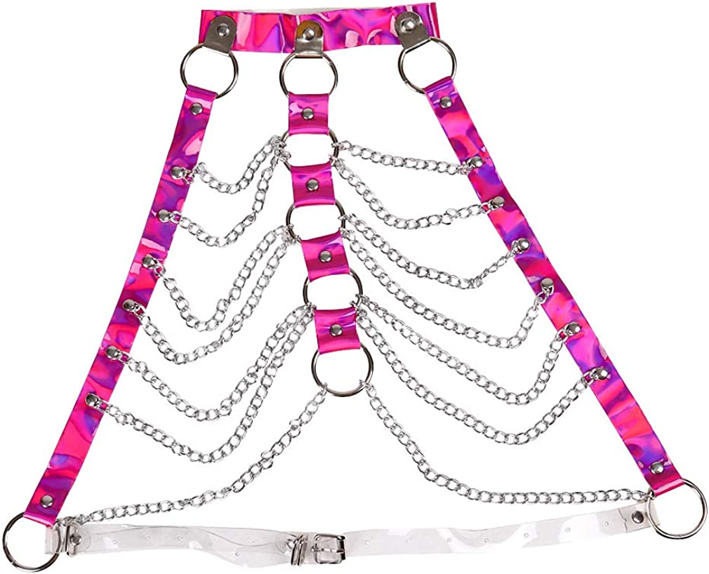 Womens harness body chain bra Adjustable Lingerie cage Waist belt Festival Rave Punk goth Plus size Dance photography (Rose Red)