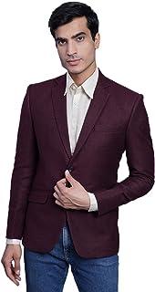 WINTAGE Men's Tweed Casual and Festive Blazer Coat Jacket : Maroon, X-Small