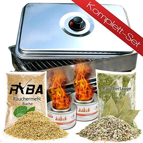 RYBA Set - Tisch Räucherofen Tischräucherofen + Brennpaste, Räuchermehl, Räucherlauge