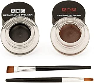 BRIGHT JEWELS ADS Eye Studio Waterproof 24 Hours Long-Wear Gel Eyeliner Set of 2 with Brushes
