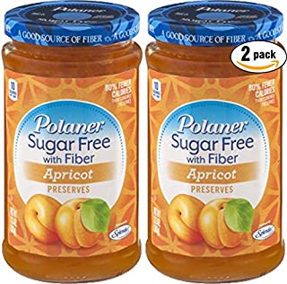 Polaner Apricot, Sugar Free With Fiber Preserves, 13.5oz (Pack of 2, Total of 27 Oz)