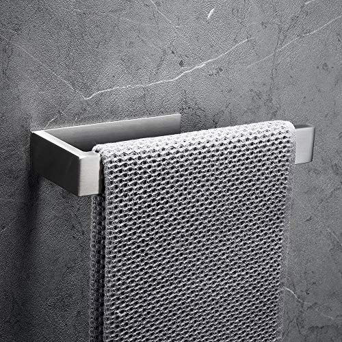 CCKOLE Toallero sin agujeros, toallero de acero inoxidable 304, anillo autoadhesivo, soporte para toallas de baño (plata cepillada, sin taladrar)