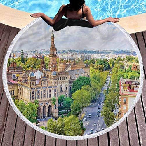 Aubrdon Toalla de Playa Redonda Toallas de baño Baño Toallas de Playa Toallas de Piscina Paisaje Urbano de Sevilla España (diámetro 150 cm)