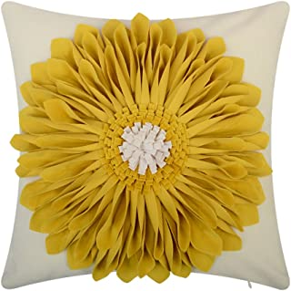 OiseauVoler 3D Sunflowers Throw Pillow Cases Handmade Decorative Cushion Covers for Home Sofa Car Bed Room Decor Yellow 18 x 18 Inch