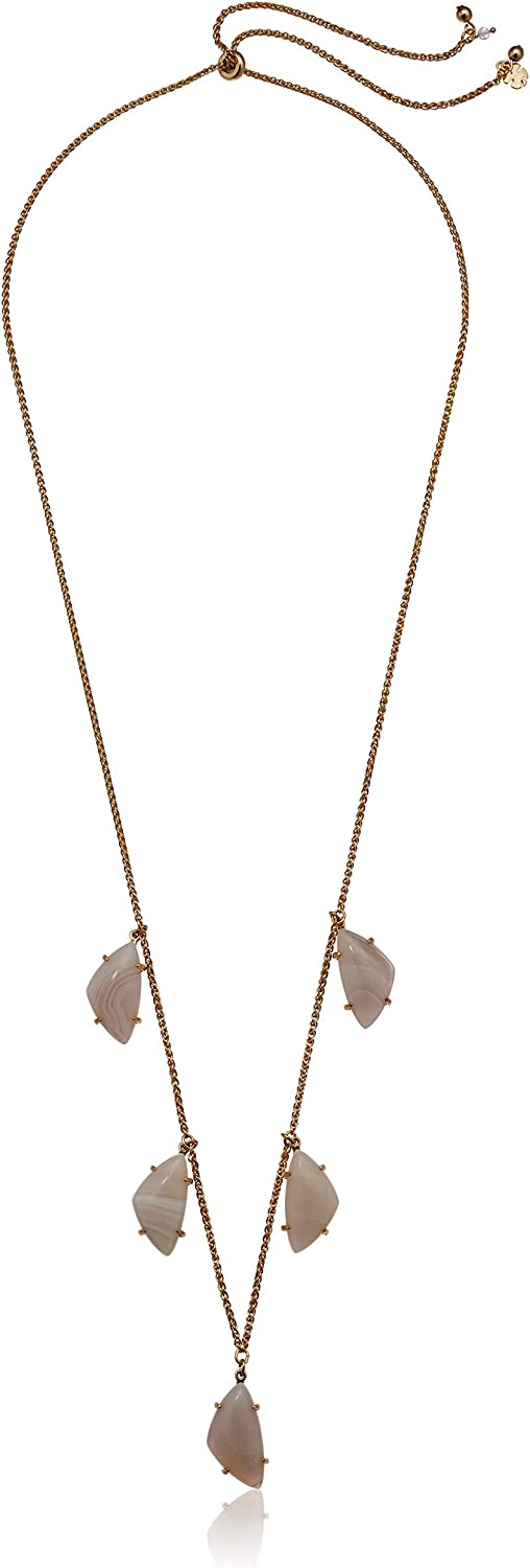 Lucky Brand Jewelry White Agate Drop Stone Necklace, Gold