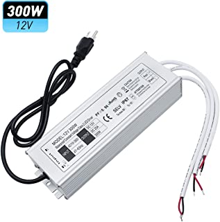 LightingWill Waterproof IP67 LED Power Supply Driver Transformer 300W 110V AC to 12V DC Low Voltage Output with 3-Prong Plug 3.3 Feet Cable for Outdoor Use
