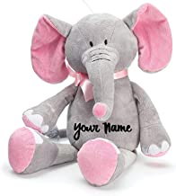 Personalized Baby Elephant Grey and Pink Plush Stuffed Animal Toy for Baby Girl with Custom Name - 16 Inches