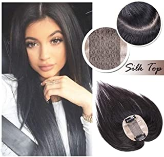 Middle Part Human Hair Crown Topper Clip Toupee Wiglet Hairpieces Off Black #1B for Women with Thinning Hair Hand-made Silk Base at Middle&PU Round Clips in Top Cover (6 inch)