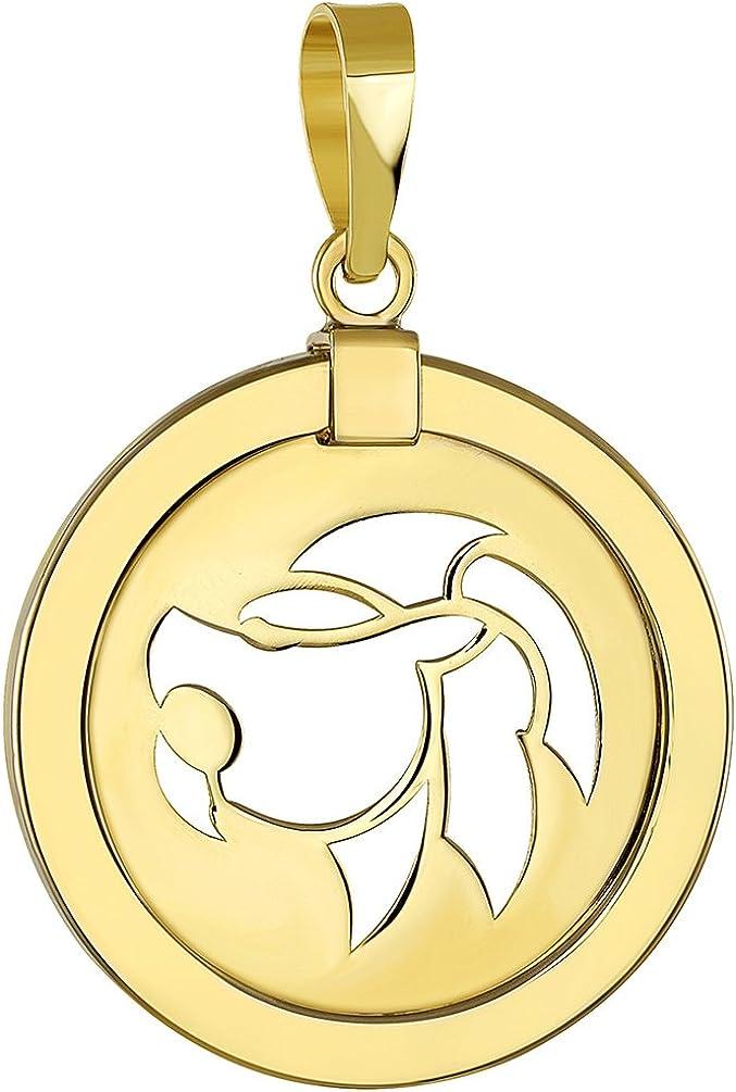 14K Yellow Gold Reversible Round Lion Leo Zodiac Sign Pendant