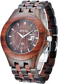 Wooden Watches Mens,Light Weight Luminous Date Analog Movement Quartz Wrist Watch