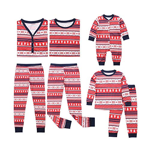 cinnamou Pijama Familiar NavideñO, Conjunto De Pijama Tops Estampado Cuello Redondo + Pantalones A Rayas para NiñOs Mamá Papá Mameluco De Manga Larga para Bebé Monos Homewear
