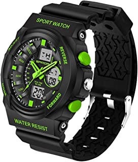 Songlin@yuan 5297 LED Night Light Display and Stopwatch & Alarm Clock and Date and Week Function Men's Quartz + Digital Dual Sports Watch with Plastic Belt Fashion (Color : Green)