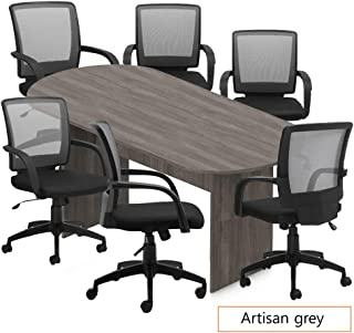 GOF 6FT, 8FT, 10FT Conference Table Chair (G10900B) Set, Cherry, Espresso, Mahogany, Walnut, Artisan Grey (8FT with 6 Chairs, Artisan Grey)