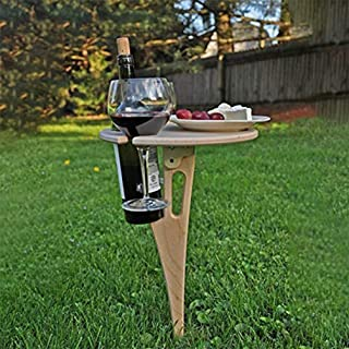 Portable Tables Folding Small Side Table Lightweight Outdoor Dining Stick Table with Wine Rack Wooden Garden Picnic Drinks...