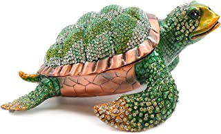 Trinket Jewelry Box with Swarovski, Decorative Figurines Green Turtle 6.5 Inches