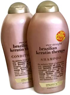 Organix Ever Straight Brazilian Keratin Therapy 19.5 fl ounces each (Shampoo and Conditioner Set)