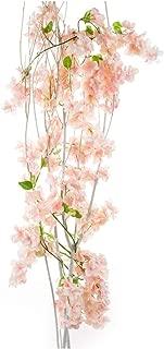 Li Hua Cat Artificial Cherry Blossom Garland Simulation Plants Hanging Vine Silk Garland Wedding Party Decor 1 piece (Light pink)