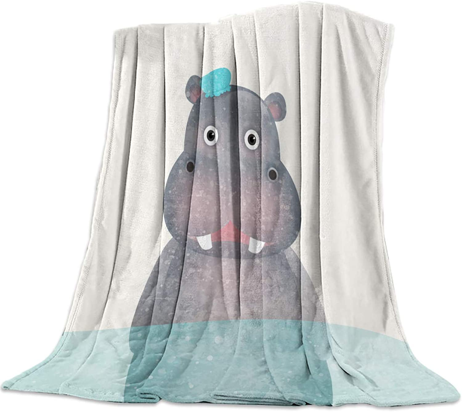 COLORSUM Animal Theme Soft Plush Throw Blanket 50x60 inch Printed Flannel Fleece Blanket for Bedroom Living Room Couch Bed Sofa - Hippo Taking Shower Cartoon Design
