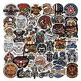 WayOuter Pegatinas de Motocicletas Harley Vintage 100 Piezas calcomanías de Vinilo de Motorista para Equipaje portátil monopatín Bicicleta