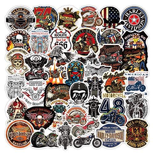 WayOuter Vintage Harley Motorräder Aufkleber 100 Stück Biker Vinyl Aufkleber für Gepäck Laptop Skateboard Fahrrad
