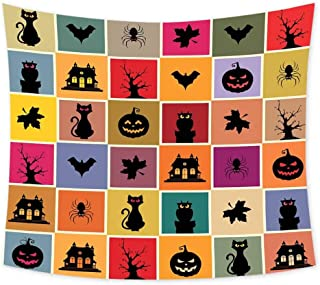 Luoiaax Vintage Halloween Psychedelic Tapestry Hippie Bats Cats Owls Haunted Houses in Squraes Halloween Themed Darwing Art Tapastry Wall Art for Living Room W91 x L60 Inch Multicolor