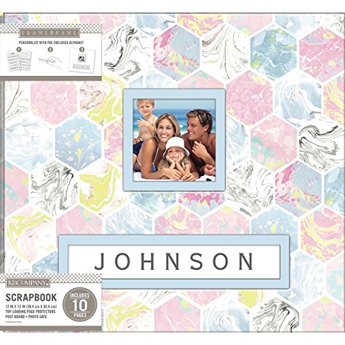 K & Company K&Co Scrapbook 12x12 Frame-A-Name Marbled Hexagon MarbledHexagn