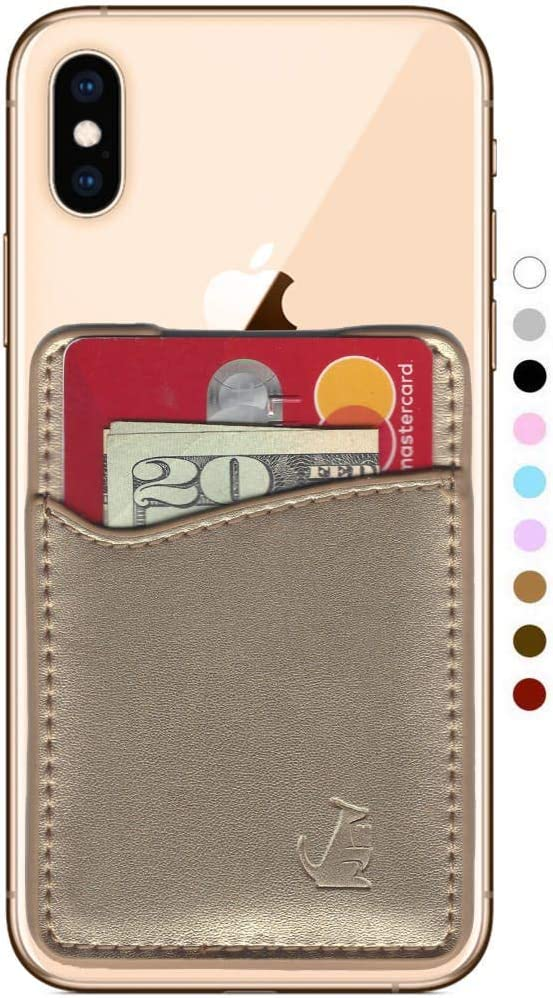 Premium Leather Phone Card Holder Stick On Wallet for iPhone and Android Smartphones (Gold Leather)