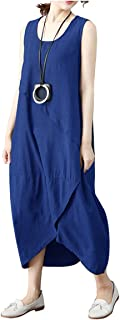 Ninmon Shares Women's Irregular Dress Sleeveless Cotton Linen Loose Casual Long Dress