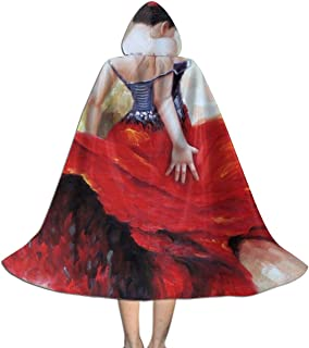 Halloween Costumes Flamenco Spanish Dancer Gypsy Bright Red Dress Hooded Witch Wizard Cloak for Womens Mens Kids